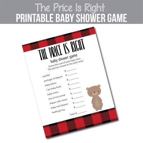 The Price Is Right Baby Shower Game  Woodland Bear Red