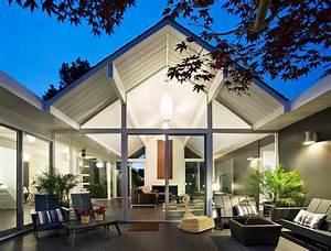 Interior, Courtyard, Surrounded, By, 4, Gables, House, By, Klopf, Architecture