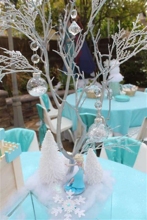 winter themed centerpieces frozen birthday party ideas kids party tables frozen and centerpieces