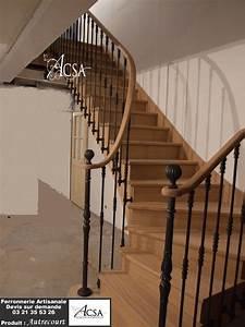 Main Courante Escalier Intérieur : escalier bois avec rampe barreaux en fer forg et main ~ Edinachiropracticcenter.com Idées de Décoration
