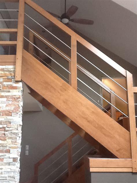 escalier bois et inox escalier moderne bois et inox boiseries sir laurier