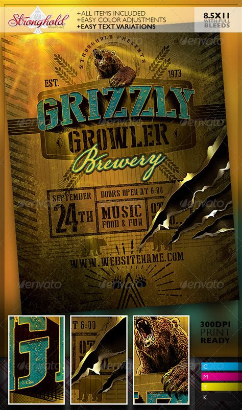 Transferring Preset Templates For Scribe America by Grizzly Growler Brewery Flyer Template Graphicriver