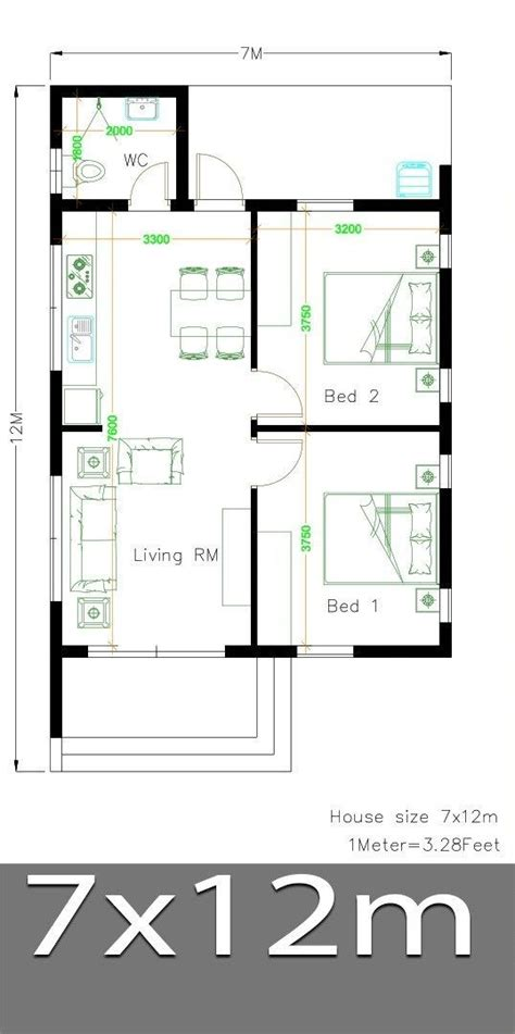 Small House Design Plans 7x12 with 2 Bedrooms Full Plans