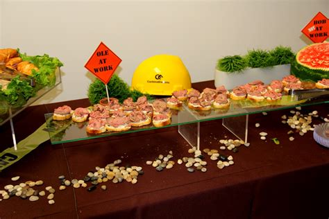 Even if you only have a few friends over for the party, you need to limit the number of people touching the food and cutlery. Construction Themed Corporate Retirement Party
