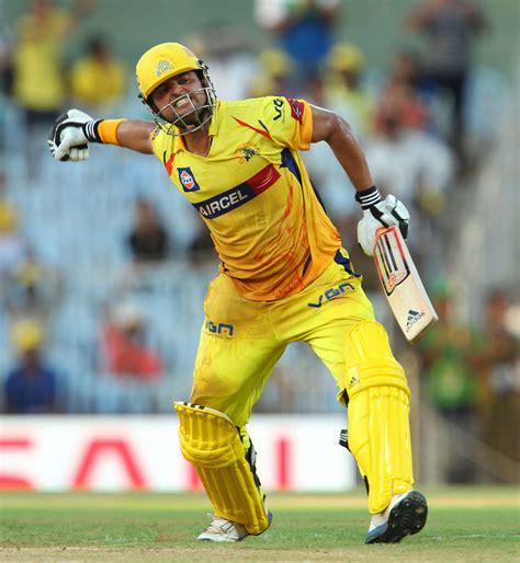 Suresh Raina exults after scoring his first IPL century ...