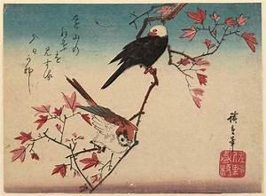 Utagawa Hiroshige: Sparrow and White-headed Bird on Maple ...