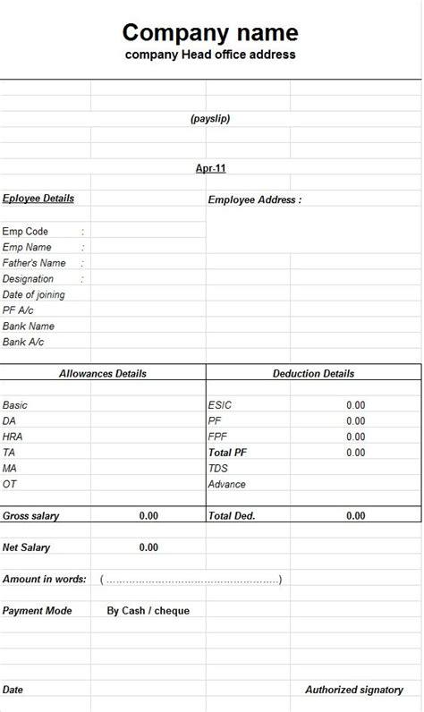 create  payslip templates  microsoft excel