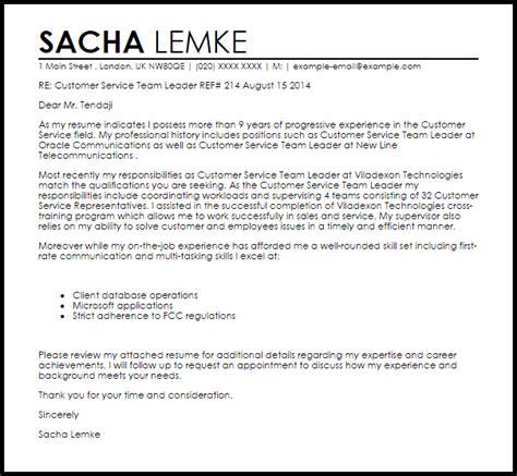 Cover Letter For A Team Leader Position by Customer Service Team Leader Cover Letter Sle Livecareer