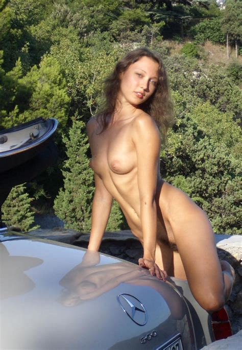Sexy Russian Teen Posing Near Old Mercedes Benz Russian