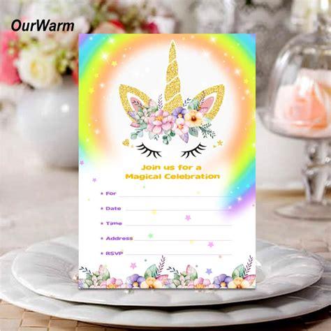 ourwarm unicorn invitations card  envelopes unicorn
