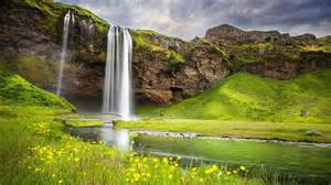 flowers for s day cold waterfall in the nature hd wallpaper