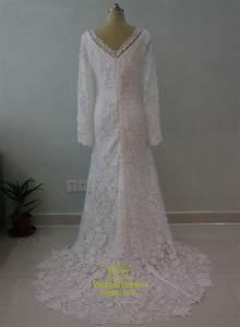 Elegant long sleeve v neck lace floor length mermaid for Long sleeve v neck wedding dress