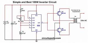 Simple 100w Inverter Circuit Using 555 12v To 220v Ac