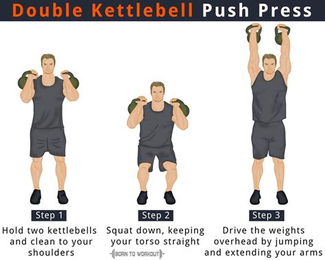 kettlebell press push double benefits workout borntoworkout position