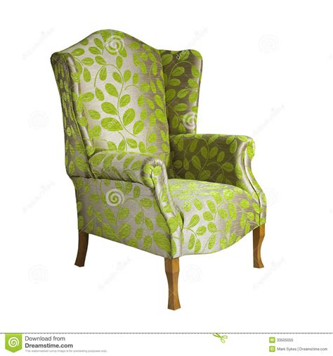 green fabric arm chair isolated on white background stock
