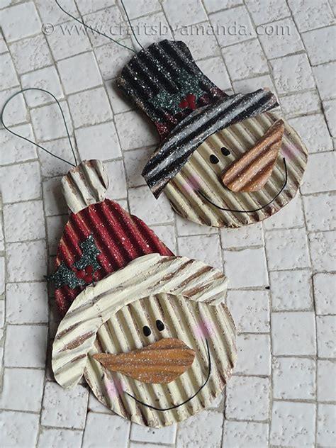 corrugated cardboard snowman ornaments crafts by amanda