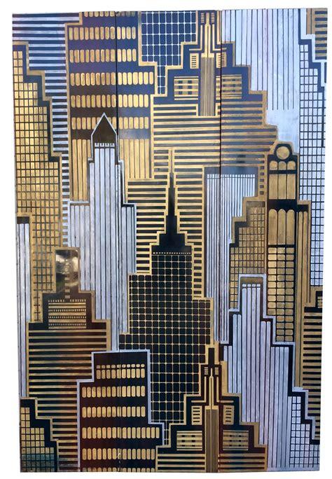 skyscraper cityscape  panel screen  wall sculpture