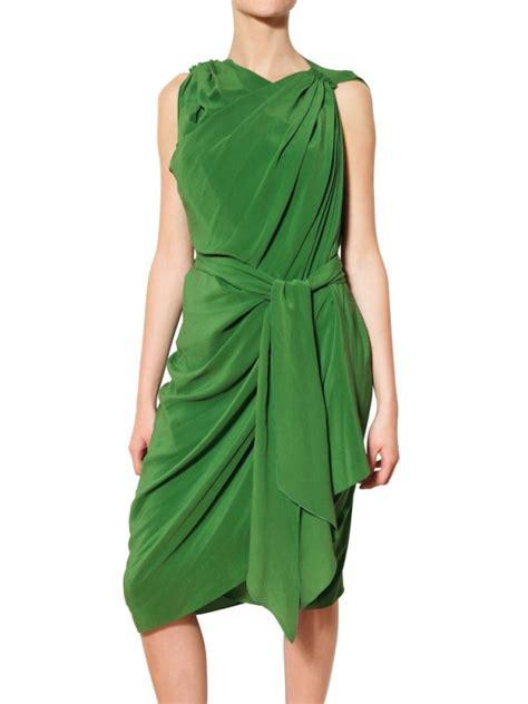 Draped Satin Dress - lyst lanvin draped silk satin dress in green