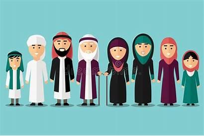 Muslim Arab Flat Islam Vector Culture Characters