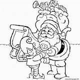 Santa Claus Coloring Pages Christmas Drawing Giving Printable Drawings Draw Sheets Colouring Wish Books Merry Easy Noel Coloriage Lutins Shoo sketch template