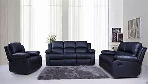 Sale new luxury valencia 321 seater leather recliner for Black leather sectional sofa uk