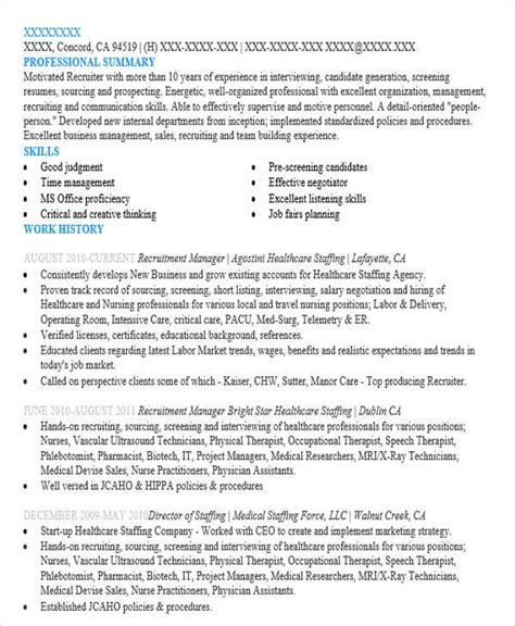 Hr Recruitment Coordinator Resume by 48 Manager Resume Templates
