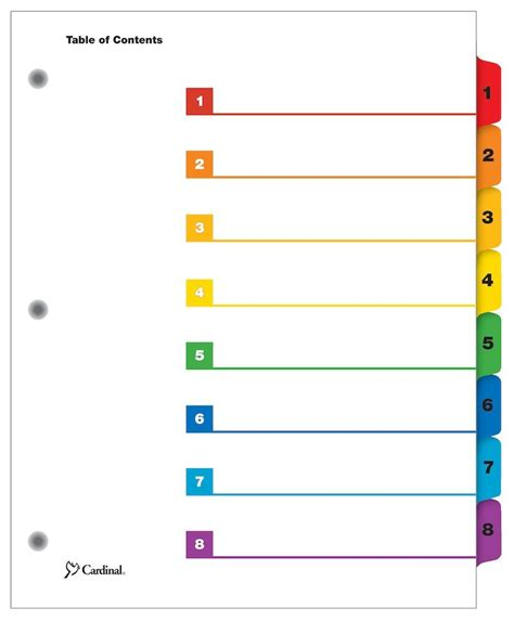 cardinal onestep printable table  contents dividers