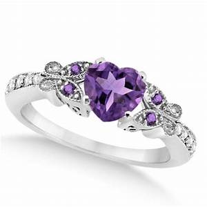 rp butterfly amethyst diamond heart engagement ring in w With wedding rings with amethyst