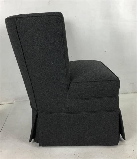 small scale wingback slipper chair in charcoal