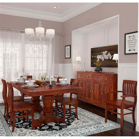 siena rustic solid wood  piece dining room set