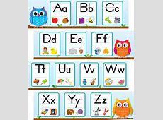 Colorful Owls Alphabet Mini Bulletin Board Set Grade PK2