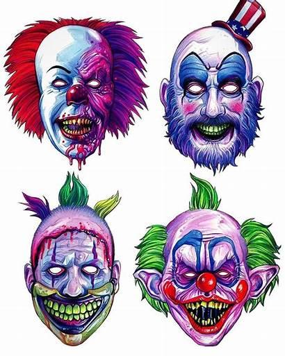 Horror Clown Drawing Halloween Masks Scary Clowns