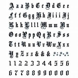 Letters numbers large old english temporary tattoo for Large letter temporary tattoos