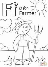 Farm Letter Farmer Coloring Scene Printable Preschool Sheets Animal Animals Crafts Letters Sheet Ff Select Alphabet Super Fall Related Nature sketch template