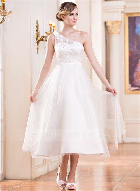 lineprincess  shoulder tea length tulle wedding