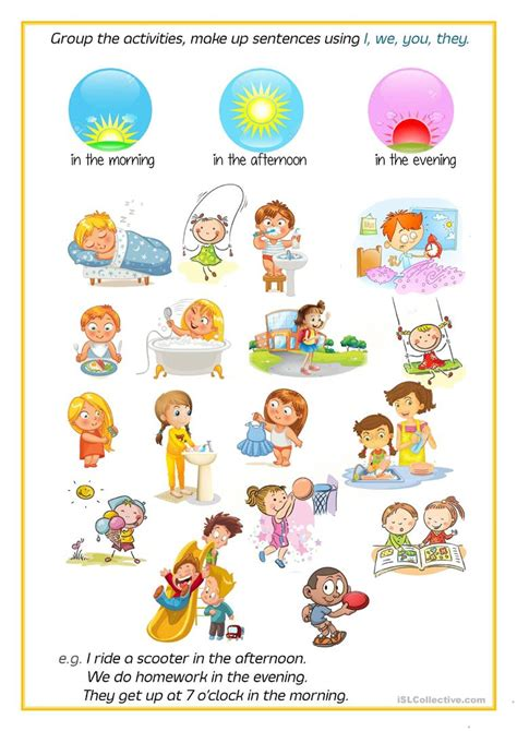 daytime and nighttime activities worksheets for kindergarten daytime and nighttime activities worksheets for