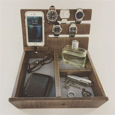 double governor wooden valet dresser caddy reclaimed wood organizer  valet father