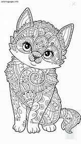 Mandala Coloring Animal Pages Printable Cat Colorings Ws sketch template