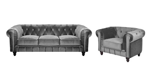 deco in ensemble canape 3 places 1 fauteuil chesterfield velours gris chest 3 1 velours gris