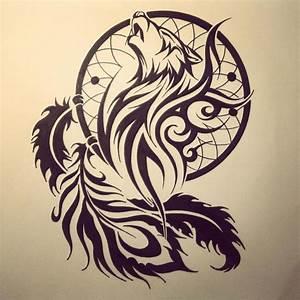Tribal Wolf Tattoo : tribal wolf dream catcher tattoo drawing ~ Frokenaadalensverden.com Haus und Dekorationen