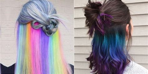 Hair With Color Underneath by The Underlights Hair Color Trend Secret Rainbow Hair Color