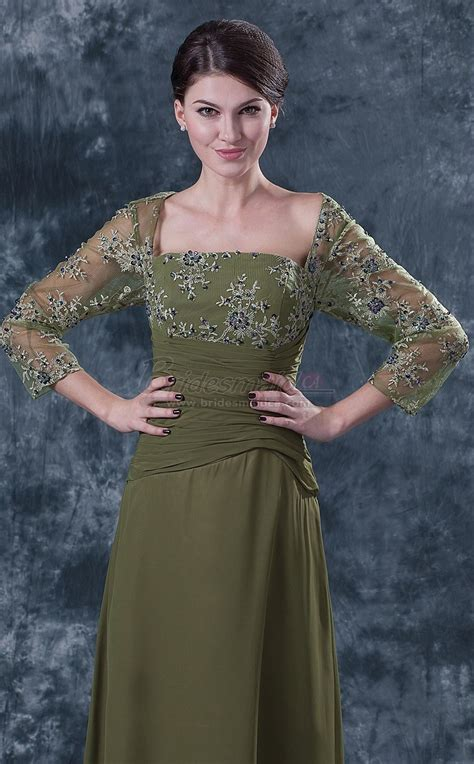 long chiffon lace square neckline dark lime green mother