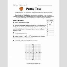 Penny Toss  Exponential Growth And Decay 9th  10th Grade Worksheet  Lesson Planet
