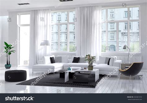 Modern Spacious Airy Living Room Interior Stock Illustration 292461572
