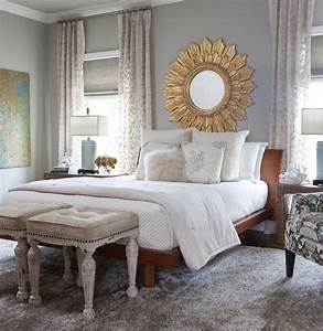 gray blue bedroom classic romantic chic gold sun mirror ...