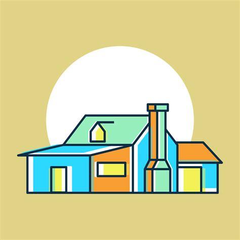 unique house exterior watercolor vectors