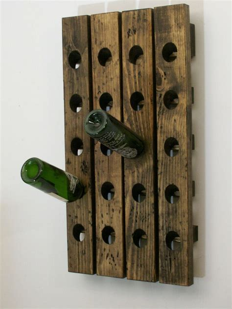 wine riddling rack distressed wood handmade wall hanging