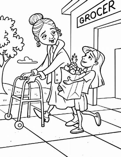 Helping Coloring Others Pages Grandma Groceries Take