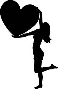 Female Silhouette with Heart Clip Art