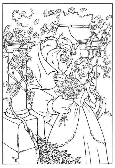 disney beauty   beast colouring pictures coloring page